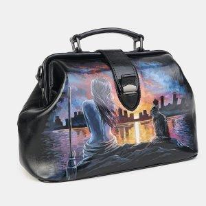 Удобная черная сумка с росписью ATS-3602 211876