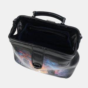 Удобная черная сумка с росписью ATS-3602 211878