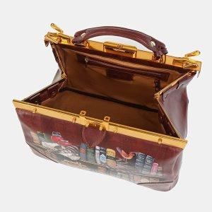 Кожаный светло-коричневый саквояж с росписью ATS-3604 211868