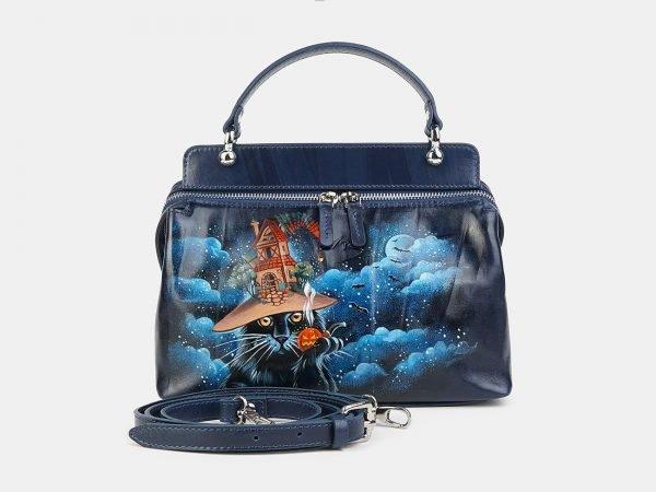 Деловая синяя сумка с росписью ATS-3603