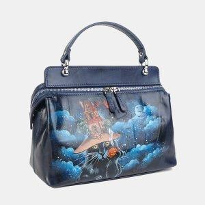Уникальная синяя сумка с росписью ATS-3603