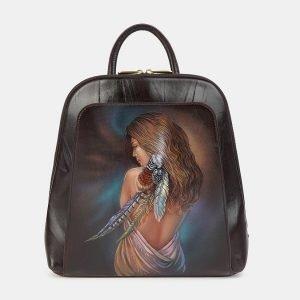 Удобный коричневый рюкзак с росписью ATS-3606
