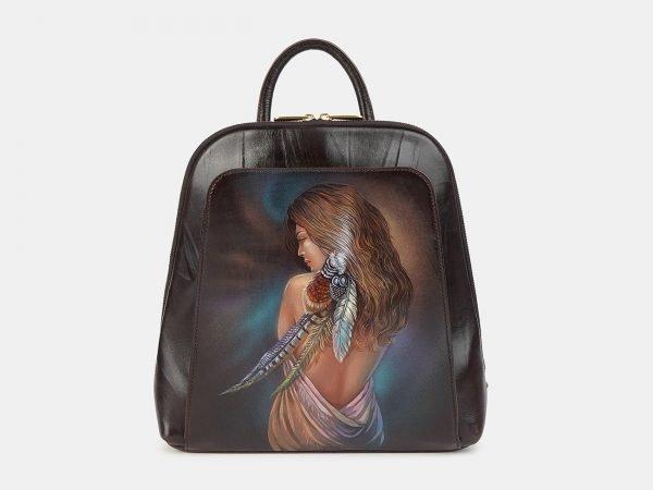 Неповторимый коричневый рюкзак с росписью ATS-3606