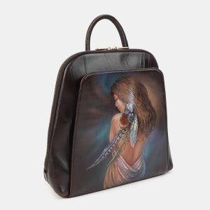 Неповторимый коричневый рюкзак с росписью ATS-3606 211856