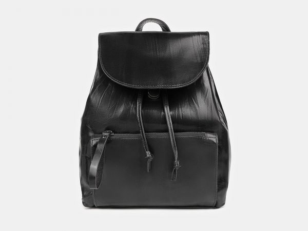 Стильный черный рюкзак кожаный ATS-3464