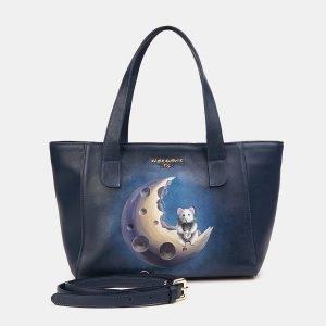 Неповторимая синяя сумка с росписью ATS-3611