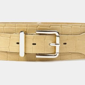 Кожаный бежевый женский модельный ремень ATS-3473 212373