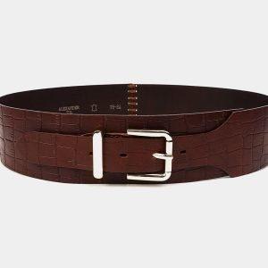 Кожаный светло-коричневый женский модельный ремень ATS-3477