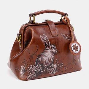 Функциональная светло-коричневая сумка с росписью ATS-3612 211836
