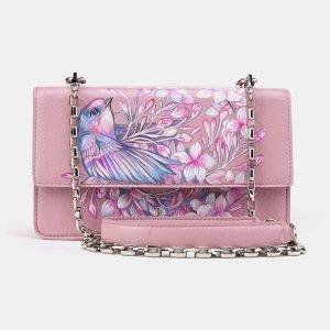 Уникальный розовый клатч с росписью ATS-3619