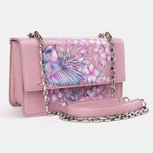 Кожаный розовый клатч с росписью ATS-3619 211802