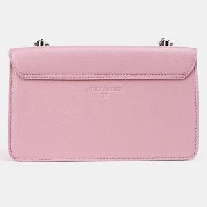 Кожаный розовый клатч с росписью ATS-3619 211803