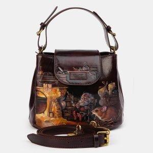 Солидная коричневая сумка с росписью ATS-3614