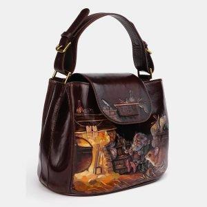 Солидная коричневая сумка с росписью ATS-3614 211826