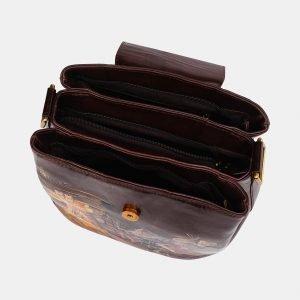 Солидная коричневая сумка с росписью ATS-3614 211828