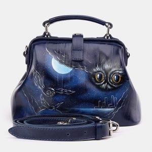 Модная синяя сумка с росписью ATS-3616