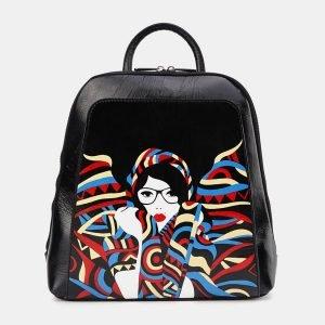Деловой черный рюкзак с росписью ATS-3621