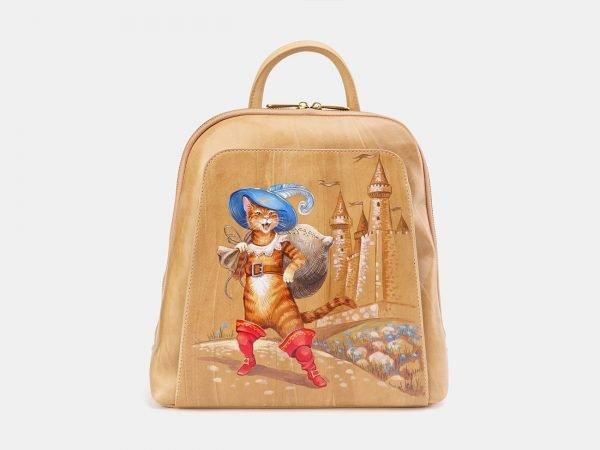 Вместительный бежевый рюкзак с росписью ATS-3666
