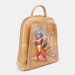 Вместительный бежевый рюкзак с росписью ATS-3666 211683