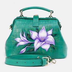 Кожаная зеленая сумка с росписью ATS-3670