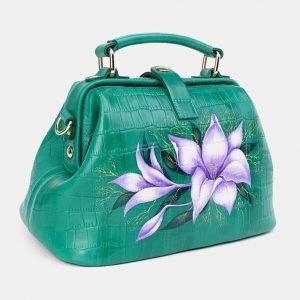 Кожаная зеленая сумка с росписью ATS-3670 211663
