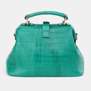 Кожаная зеленая сумка с росписью ATS-3670 211664