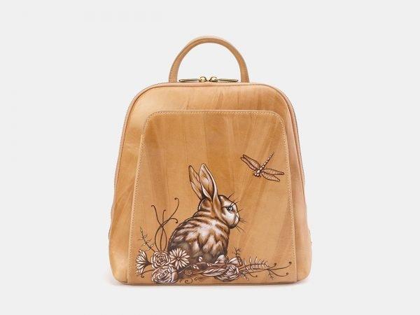Кожаный бежевый рюкзак с росписью ATS-3667