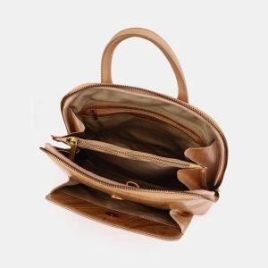 Кожаный бежевый рюкзак с росписью ATS-3667 211679