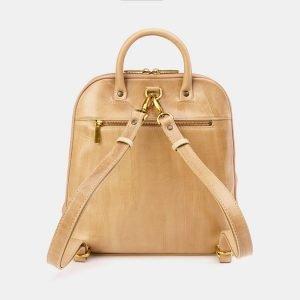 Кожаный бежевый рюкзак с росписью ATS-3667 211680
