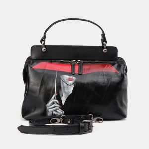 Стильная черная сумка с росписью ATS-3672