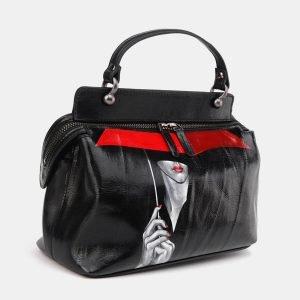Стильная черная сумка с росписью ATS-3672 211653