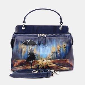Солидная синяя сумка с росписью ATS-3673