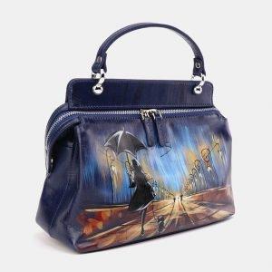 Солидная синяя сумка с росписью ATS-3673 211648