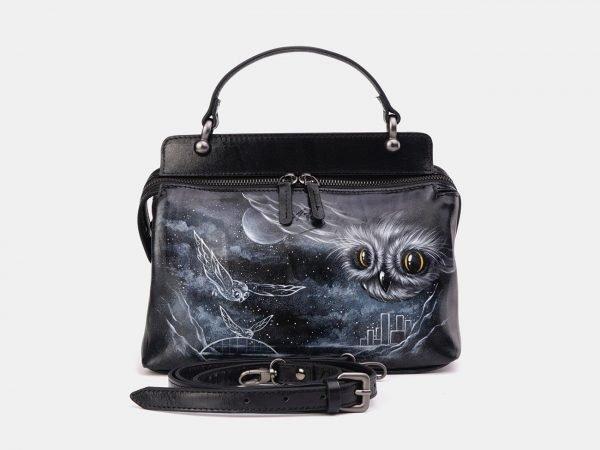 Неповторимая черная сумка с росписью ATS-3674