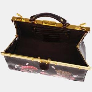 Удобный коричневый саквояж с росписью ATS-3669 211670