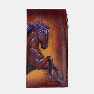 Солидный светло-коричневый портмоне с росписью ATS-2525
