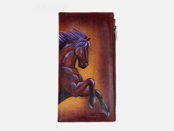 Деловой светло-коричневый портмоне с росписью ATS-2525