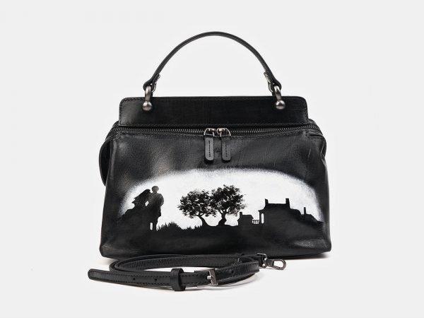 Уникальная черная сумка с росписью ATS-3519