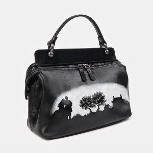 Уникальная черная сумка с росписью ATS-3519 212219