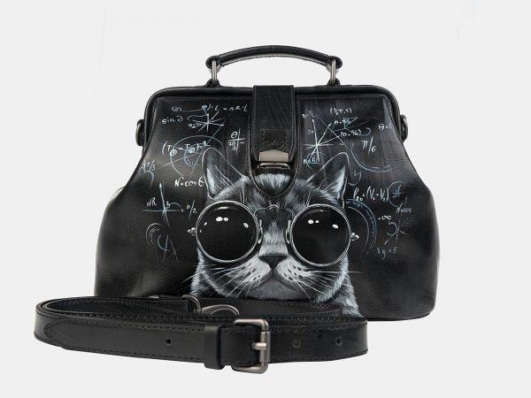 Модная черная сумка с росписью ATS-3242