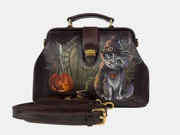 Функциональная коричневая сумка с росписью ATS-3243