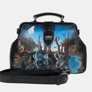 Вместительная черная сумка с росписью ATS-3239