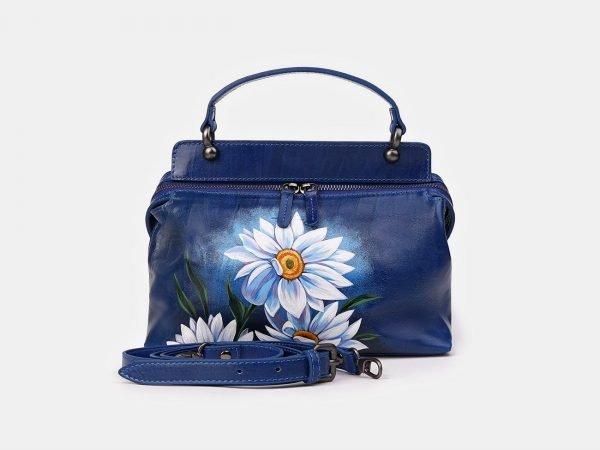 Модная голубовато-синяя сумка с росписью ATS-3539
