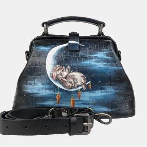 Функциональная черная сумка с росписью ATS-3234