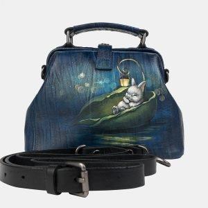 Неповторимая синяя сумка с росписью ATS-3232