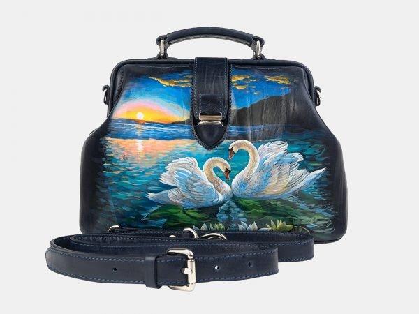 Функциональная синяя сумка с росписью ATS-3241