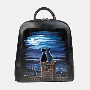 Стильный черный рюкзак с росписью ATS-3399