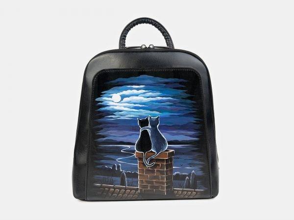 Удобный черный рюкзак с росписью ATS-3399