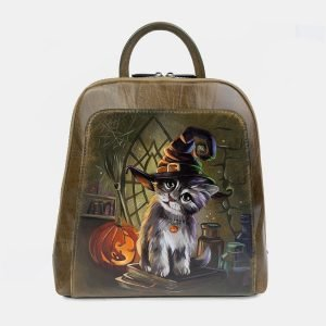 Солидный желтовато-зелёный рюкзак с росписью ATS-3400