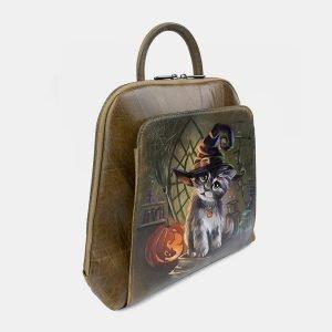 Деловой желтовато-зелёный рюкзак с росписью ATS-3400 212597